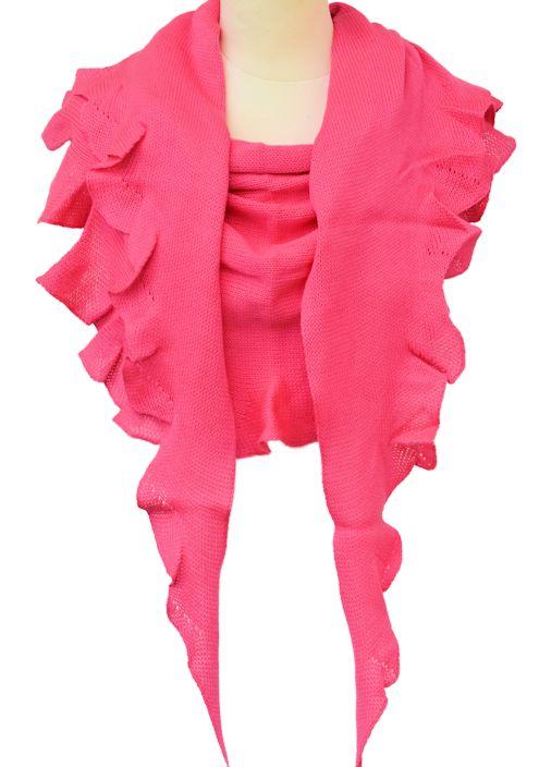 Merinovillahuivi kirkas vaaleanpunainen.