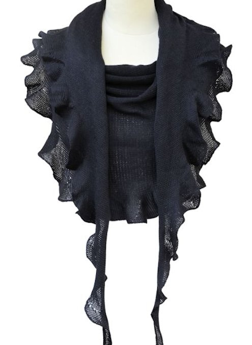 Merinovillahuivi musta.